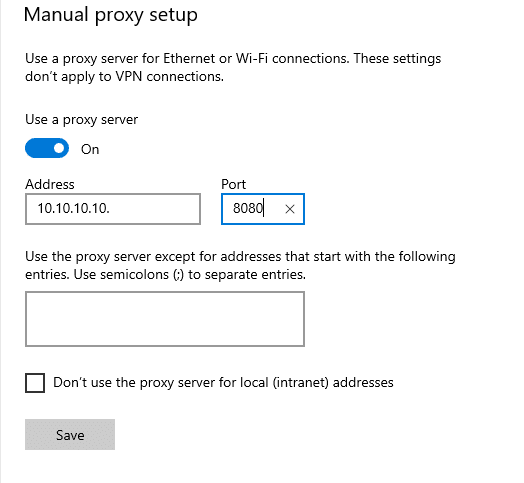 How to set up proxy in Windows 8, 10